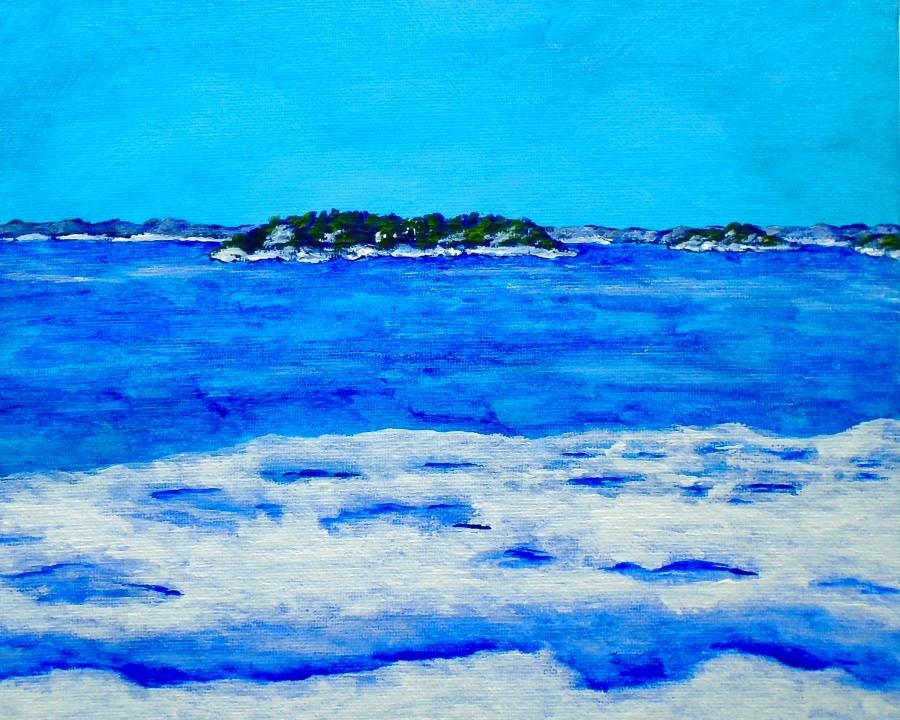 """Wedding - Icy Shore of the St. Lawrence River (ORIGINAL ACRYLIC PAINTING)  8"""" x 10"""" by Mike Kraus"""