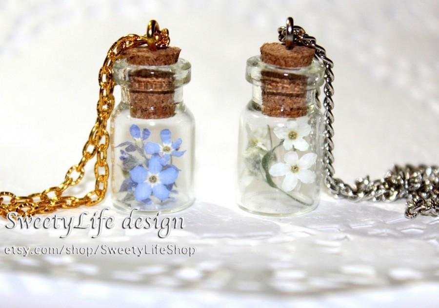 Easter gift forget me not in a bottle flower jewelry one of a easter gift forget me not in a bottle flower jewelry one of a kind gift ideas terrarium necklace flowers pendant handmade keepsake negle Images