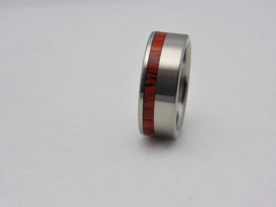 Hochzeit - Rosewood inlay Titanium wedding band  waterproof sealed wood
