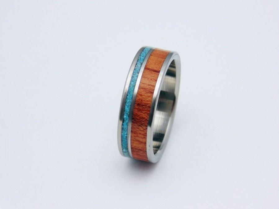 Wedding - Titanium and wood ring Bubinga waterproof wood with Turquoise inlay https://www.etsy.com/shop/PeacefieldTitanium?ref=hdr_shop_menu