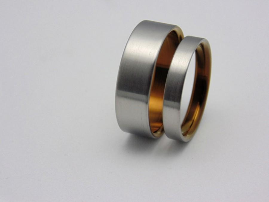 Wedding - Titanium wedding bands with Ancient Bronze lining,  Handmade titanium ring