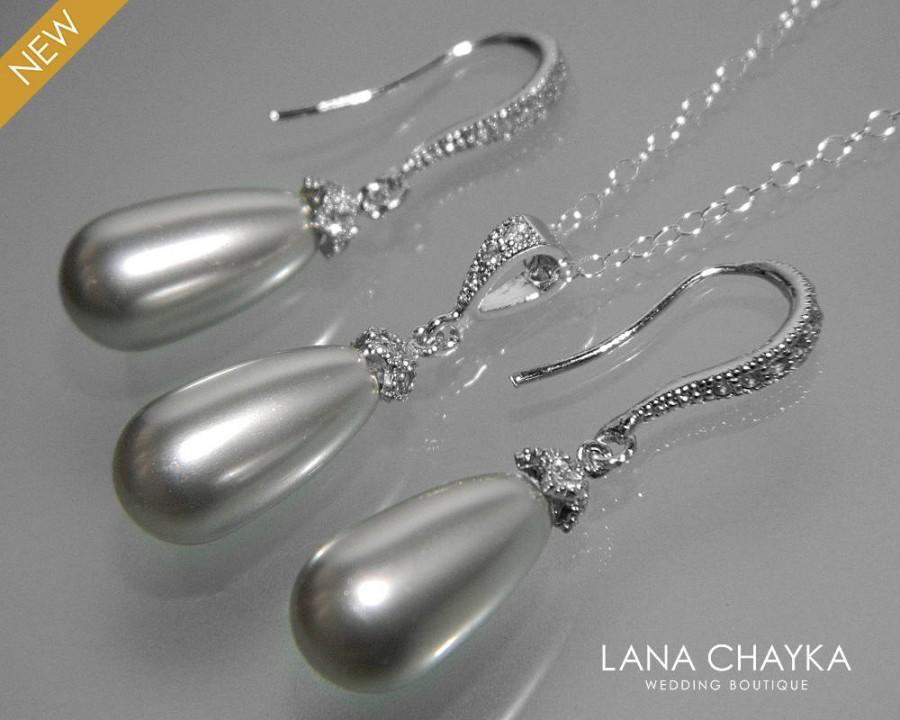 Light Gray Pearl Earrings Necklace Set Swarovski Teardrop Jewelry Bridal Bridesmaid Prom Wedding 25 00 Usd