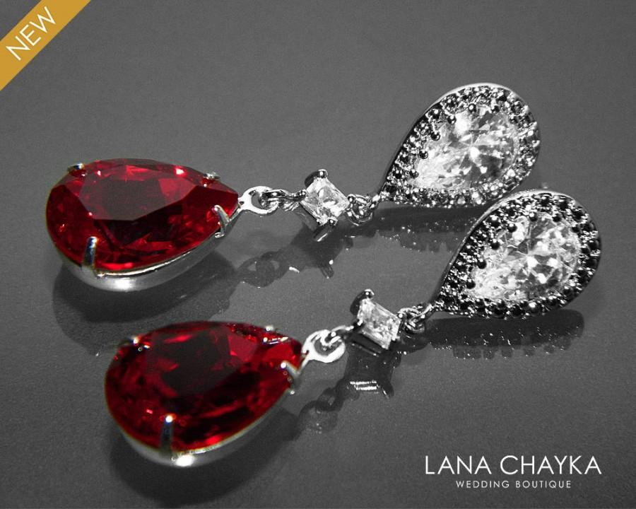 Red Crystal Bridal Earrings Swarovski Siam Dark Red Teardrop ...