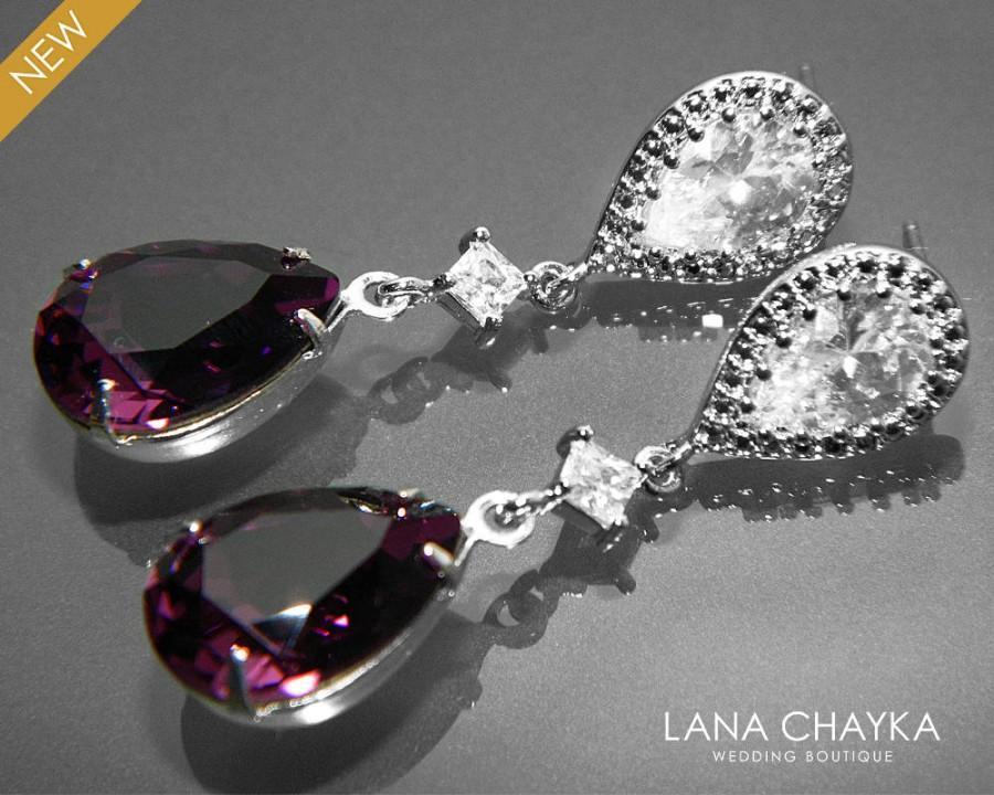 Amethyst Crystal Earrings Purple Chandelier Earrings Swarovski ...