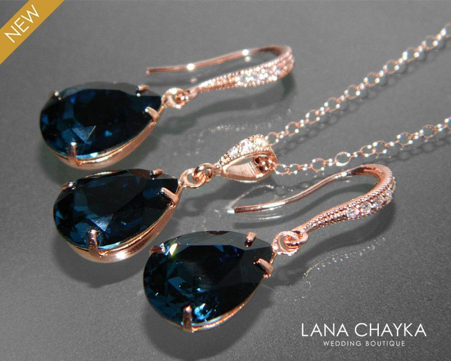 Navy Blue Rose Gold Jewelry Set Blue EarringsNecklace Bridal Set