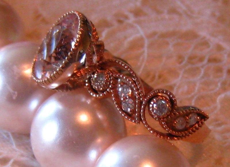 Wedding - Morganite Engagement Ring, Rose Gold Engagement Ring, Morganite IVY Rose Gold Floral Filigree Milgrain Bezel Diamond Engagement Ring