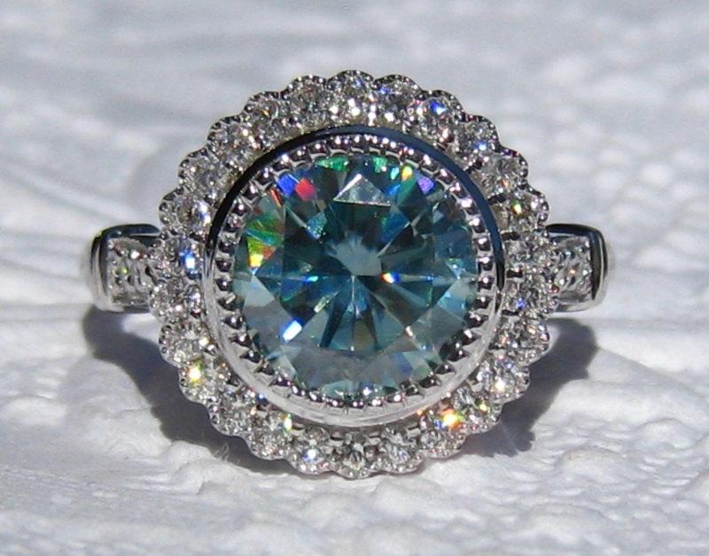 Mariage - Blue Moissanite Gerbera Diamond Engagement Ring with Milgrain Bezels, Moissanite Engagement Ring with Floral Diamond Halo