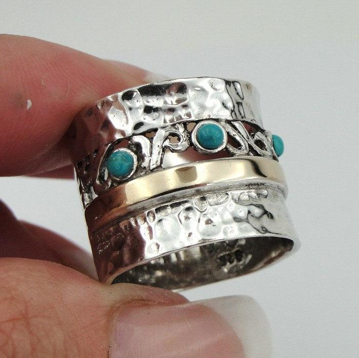 Wedding - 925 Silver 9K Yellow Gold Ring, Turquoise band, Green Stone Ring, Israel Jewelry, Ring Size 7.5, December birthstone (s r1152