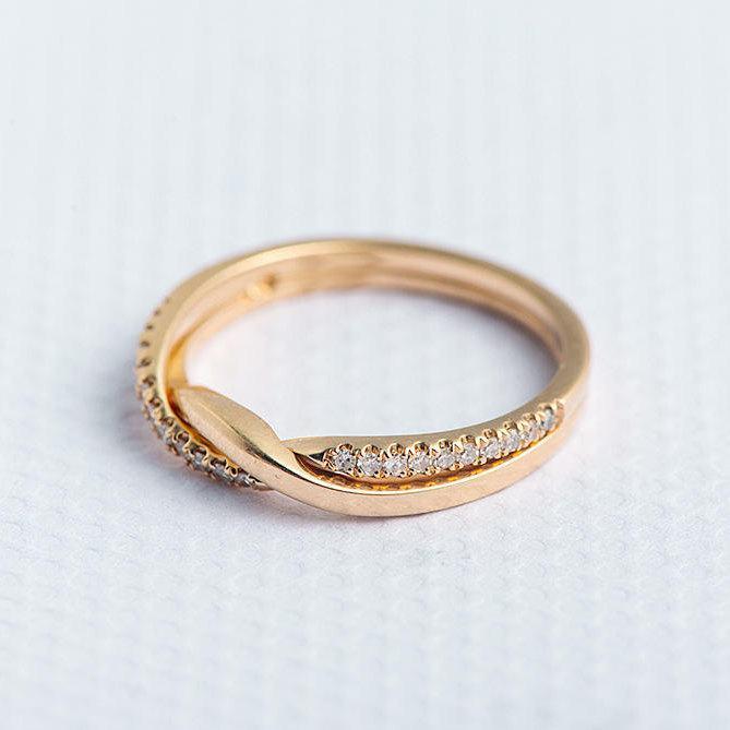 Diamond Wedding Band Yellow Gold Love Knot Ring Unique Minimalist Stacking  Wave Promise Ring Wedding Ring Set Bridal Set Twist Ring Infinity