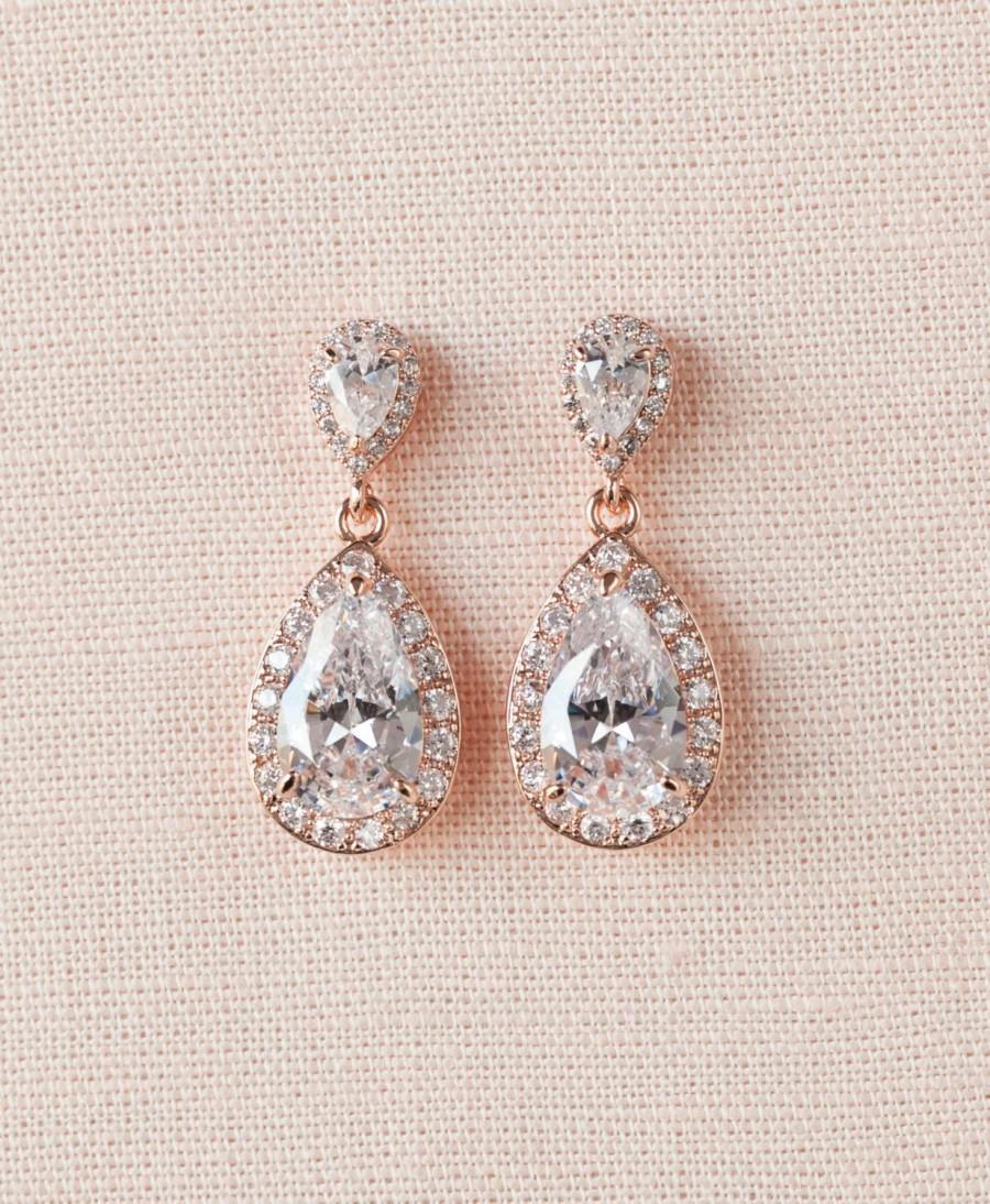 Mariage - Rose Gold Bridal Earrings, Crystal Wedding Earrings, Halo Crystal Drop Earrings, Ariel Teardrop Stud Earrings