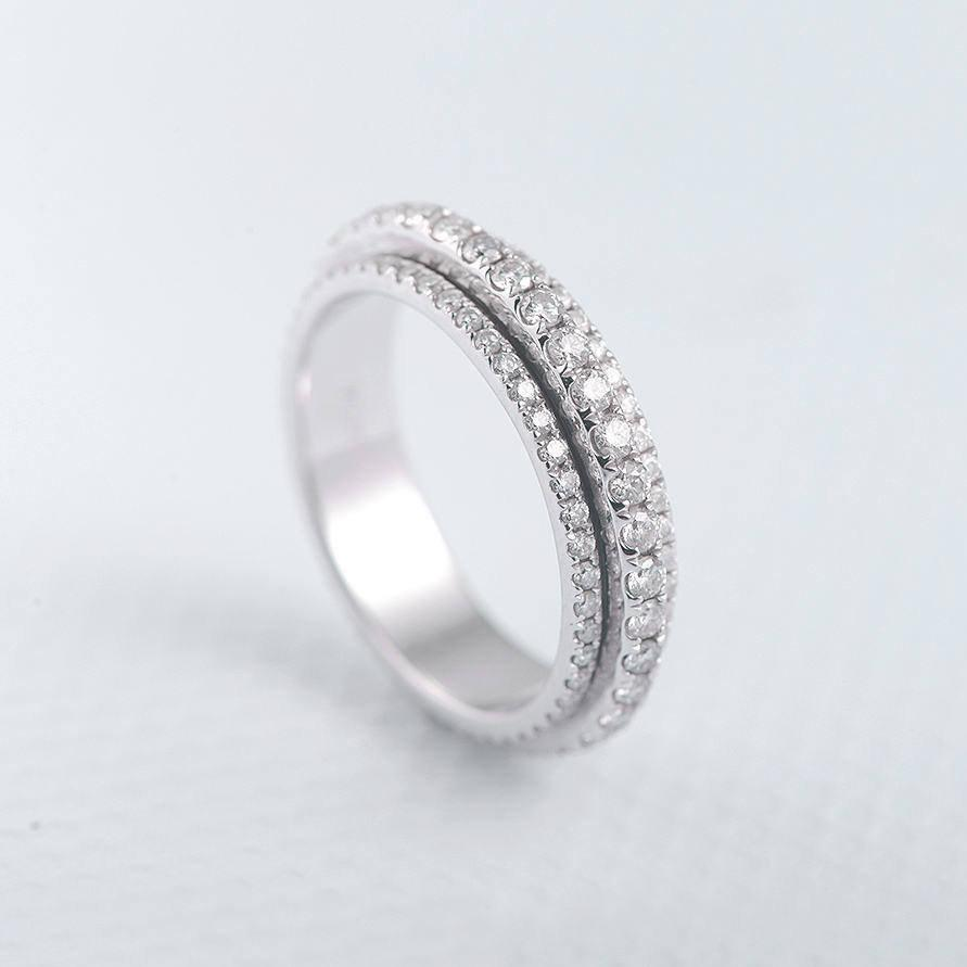 Spinner Ring Moissanite Wedding Band Rotating Eternity Forever One Brilliant Movable Unique Stacking White Gold Bridal Micro Pave