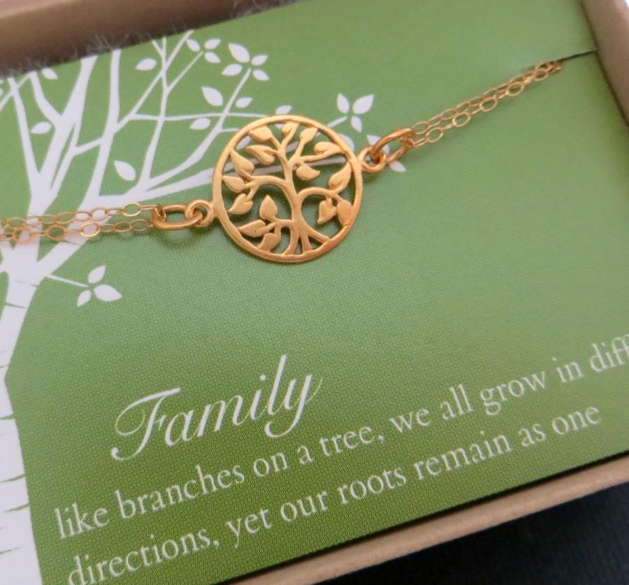 Motheru0027s Tree Of Life Bracelet, Gold Or Sterling Silver, Gift For Mother Of  Bride, Grandmother Family Tree Charm Bracelet Quote Message Card