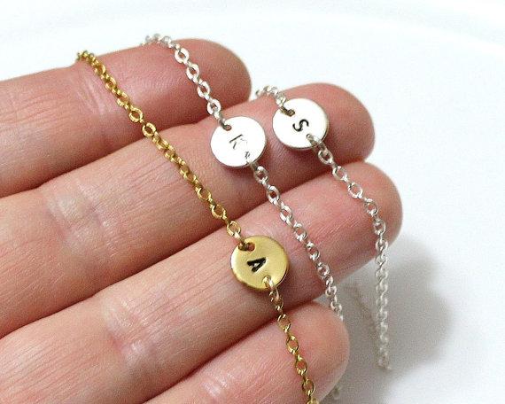 Hochzeit - Dainty Initial Bracelet, Delicate Personalized Disk Bracelet, Tiny DiscBracelet Initial Disk Charm, Statement, Personalized Bracelet Jewelry
