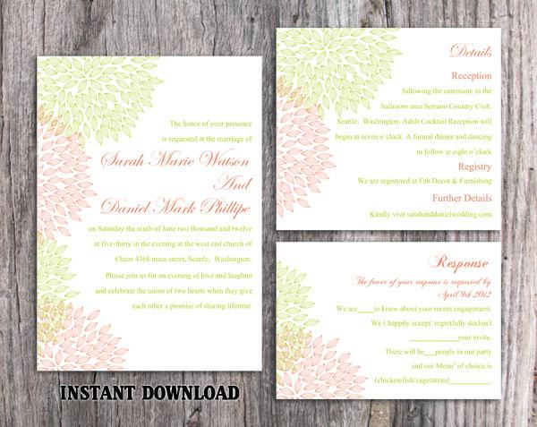 Hochzeit - Wedding Invitation Template Download Printable Wedding Invitation Editable Red Invitations Floral Invitation Green Invitation Invite DIY - $15.90 USD