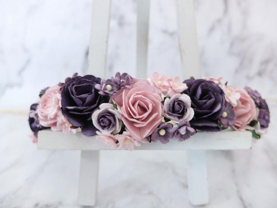 Dark purple and light mauve flower crown - floral hair wreath - wedding  headpiece - hair accessories - hair garland - woodland - girls 5dda7adab9a