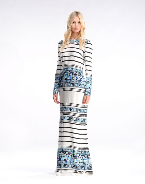 Wedding - Emilio Pucci Printed Lines Long Sleeve Maxi Dress Blue White