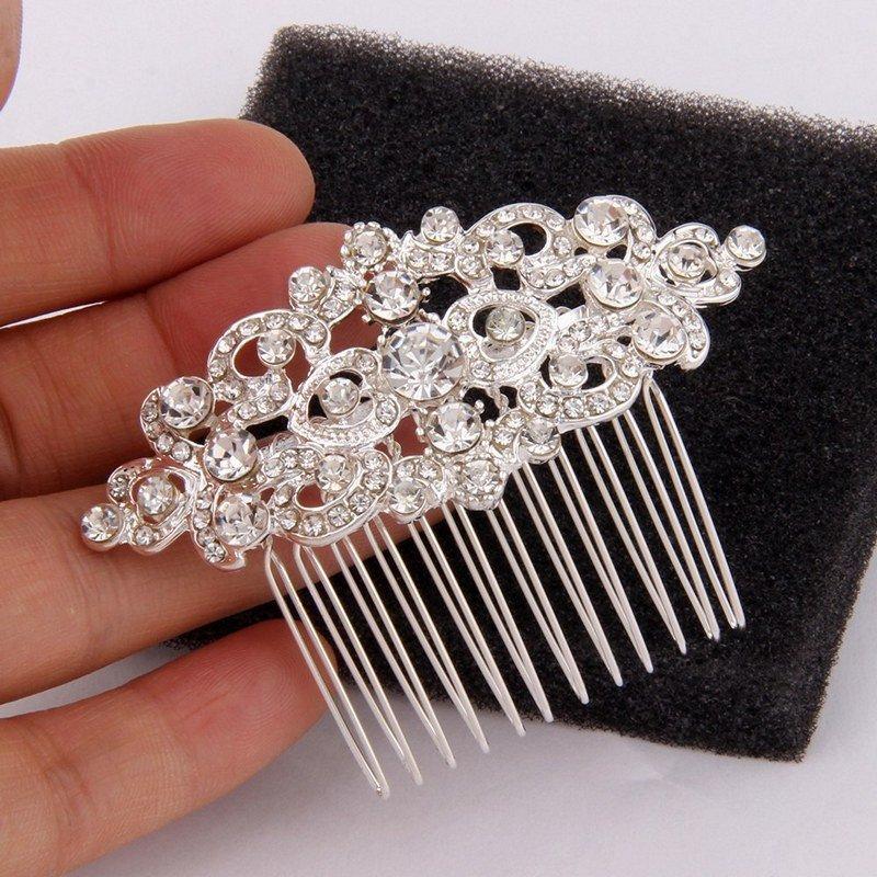 Свадьба - Sterling Silver Bridal Hair Comb Small Wedding Headpiece