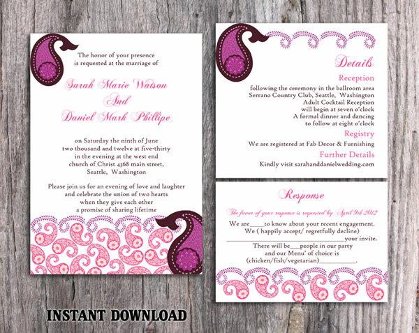 Wedding - Bollywood Wedding Invitation Template Download Printable Invitations Editable Purple Pink Invitations Indian invitation Paisley Invites DIY - $15.90 USD