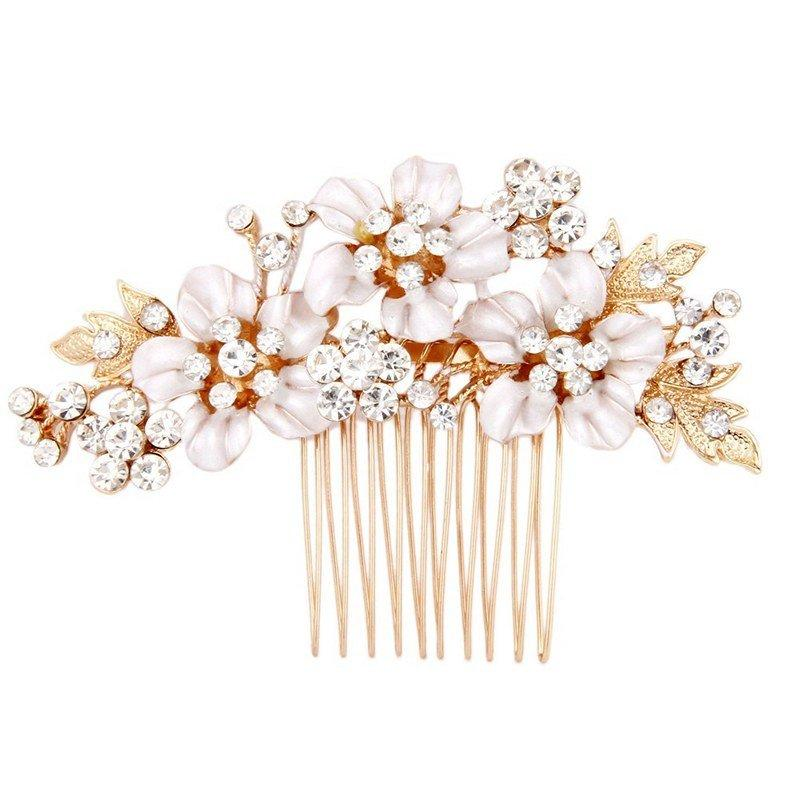 Gold flower bridal hair comb wedding hair accessories for Where to buy wedding accessories