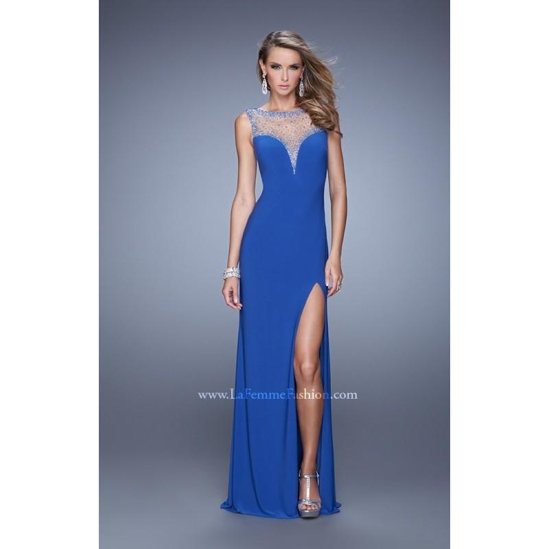 Mariage - Hot Coral La Femme 21020 - High Slit Jersey Knit Dress - Customize Your Prom Dress