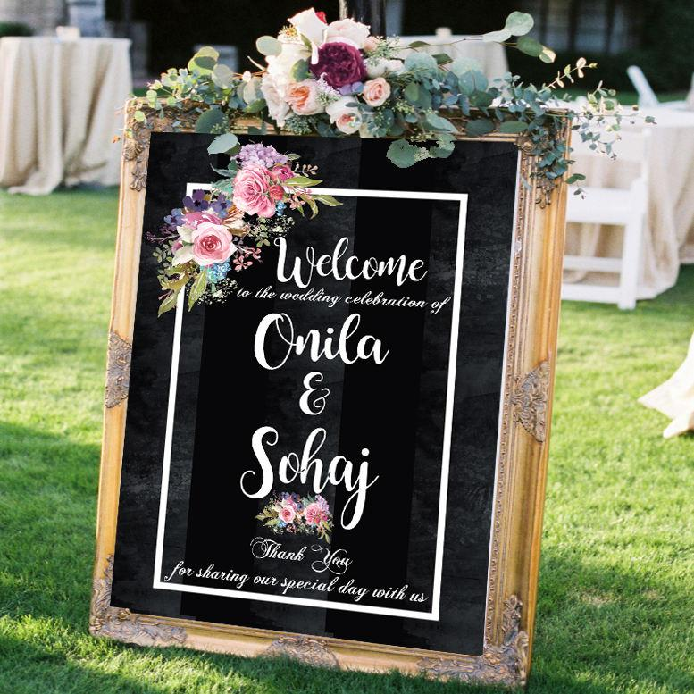 Свадьба - rustic wedding signs welcome wedding signs printable flower wedding signs chalkboard custom wedding sign personalized wedding welcome sign