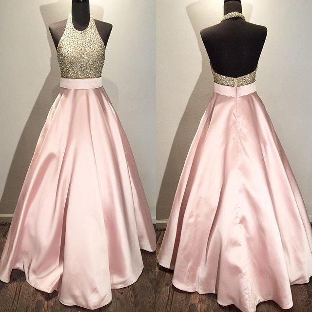 Hochzeit - A-line prom dress,long prom dress,halter prom dress,beaded prom dress,pink evening dress,BD3771