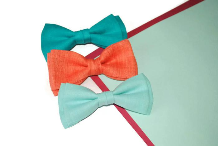 Wedding - wedding gift set for groomsmen turquiose green bow tie coral bow tie mint blue bow tie linen bowtie for men self tie bow ties groomsmen djfh - $9.15 USD