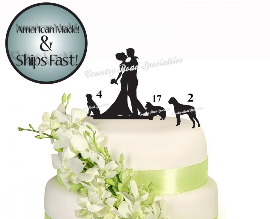 Mariage - Silhouete Romantic Couple Bride and Groom with Pet Wedding Cake Topper #502 MADE In USA…..Ships from USA