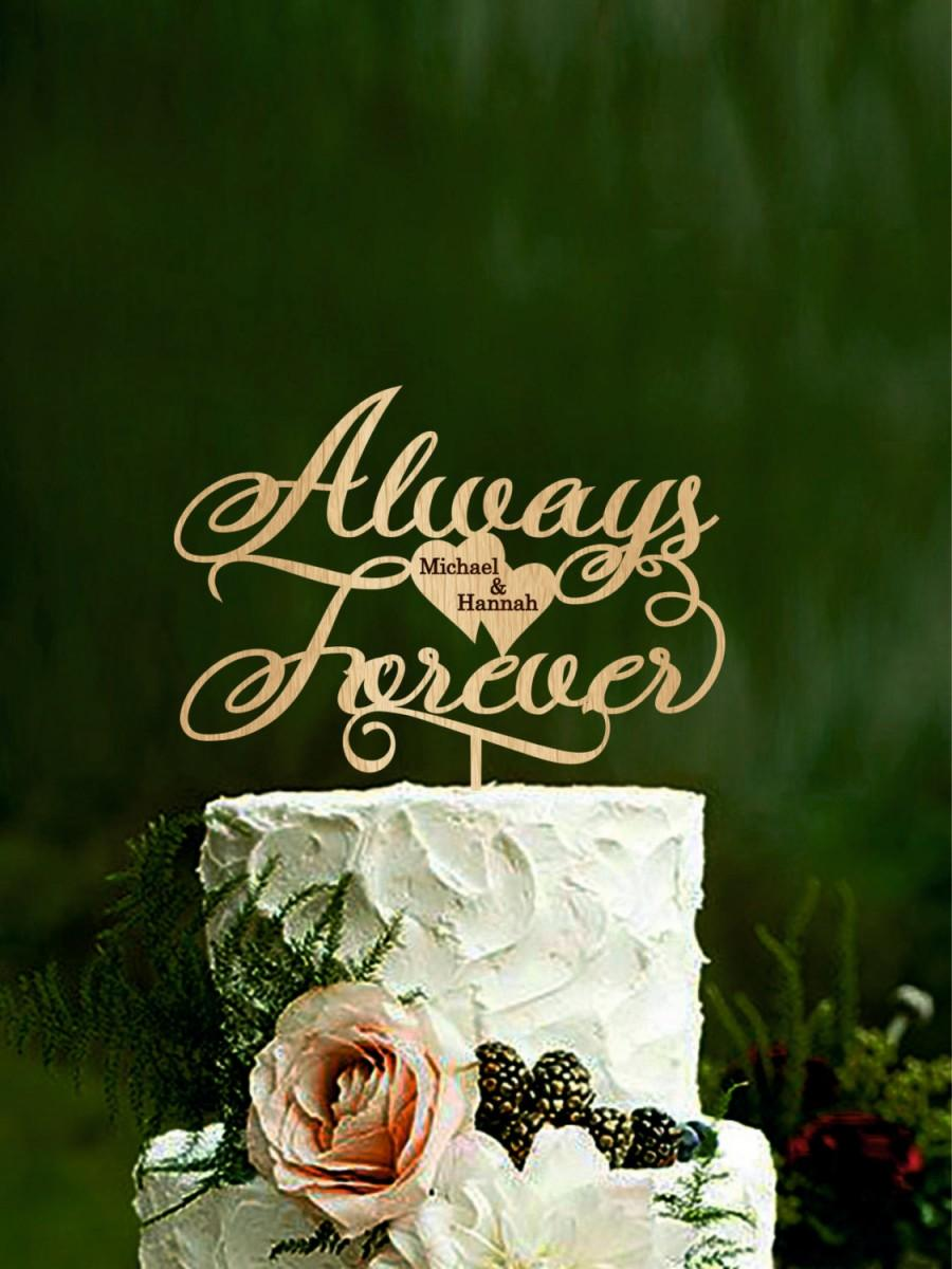 Wedding - Always and Forever Wedding Cake topper Phase Cake Topper Always & Forever Wooden Cake Topper Gold
