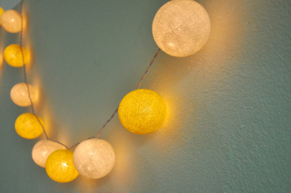 Wedding - 35 Bulbs Yellow and White tones cotton ball string lights for Patio,Wedding,Party and Decoration