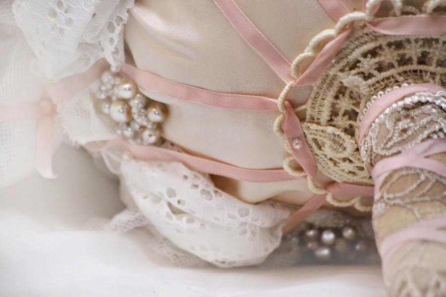 Mariage - Bridal Flower hair clip gold sash pin, Wedding hair flower, Fabric flower, ivory, pale pink blush silk, lace Rhinestones pearls rose