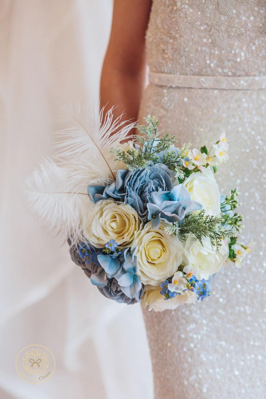 Feather Bouquet Blue Bridal Bouquet Blue Keepsake Bouquet Blue