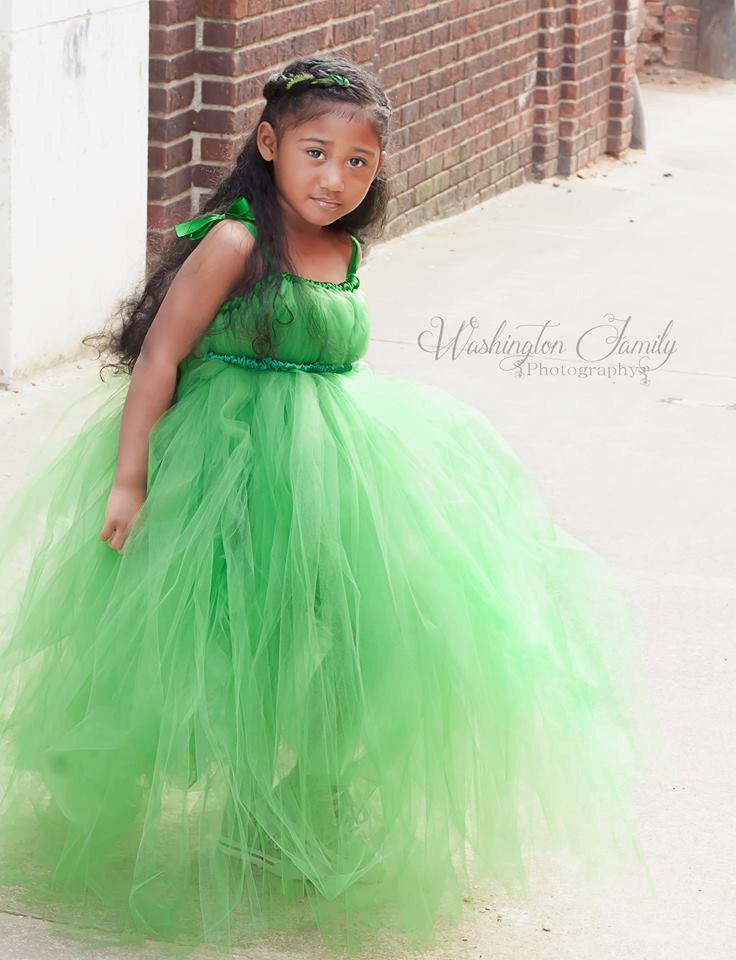 Emerald Green Tulle Flower Dress Junior Bridesmaid Tutu Spring Wedding