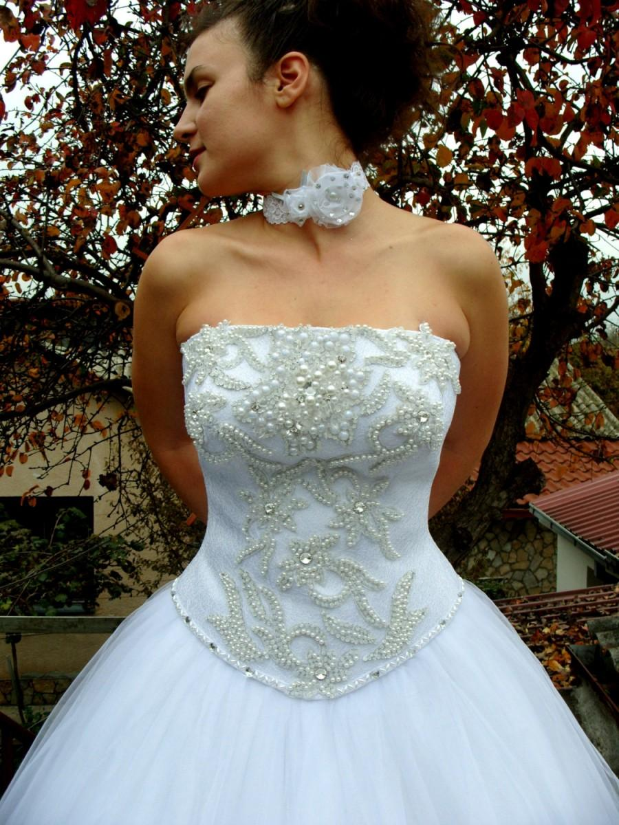 Mariage - My Liberty - Glamorous Wedding Dress, Hand-Beaded Corset, Straight Across Neckline, Swarovski Rhinestones, Pearls, Crystal Tulle Skirt