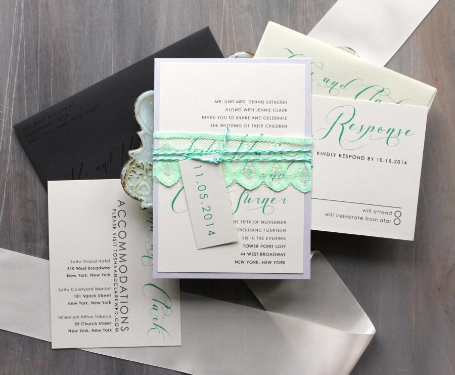 "Wedding - Elegant Script Wedding Invitations, Mint Green and Gray Invitations, Modern Invitations, Formal Wedding, Black Tie - ""Mint Script"" Sample"