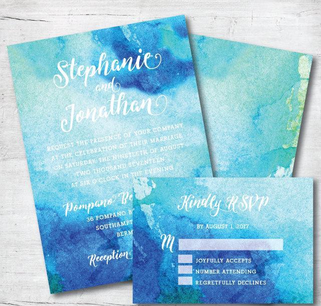 kai blue beach wedding invitation ocean watercolor invitation blue
