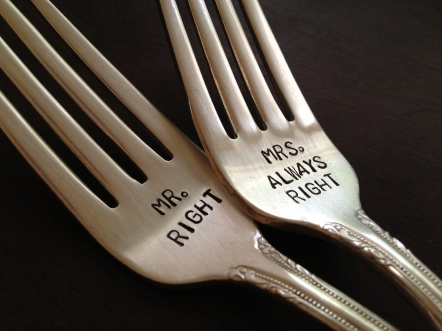 Свадьба - vintage silverware hand stamped wedding fork cake fork Mr Right and Mrs Always Right