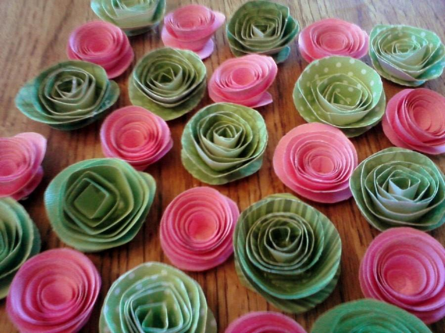 Свадьба - Set of 25 Pink and Sage Green Roses Paper Flowers