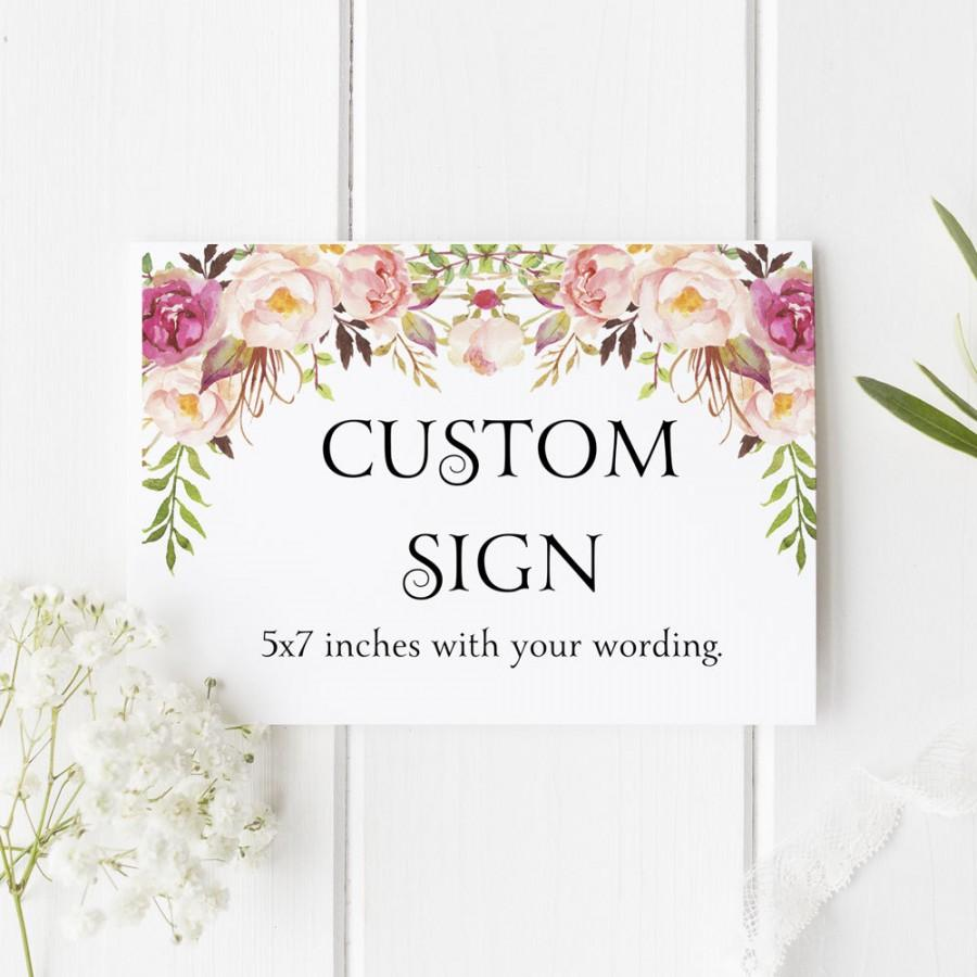 custom sign wedding table sign reception signage personalized party bridal shower decoration boho blooms size 5 by 7 printed sign