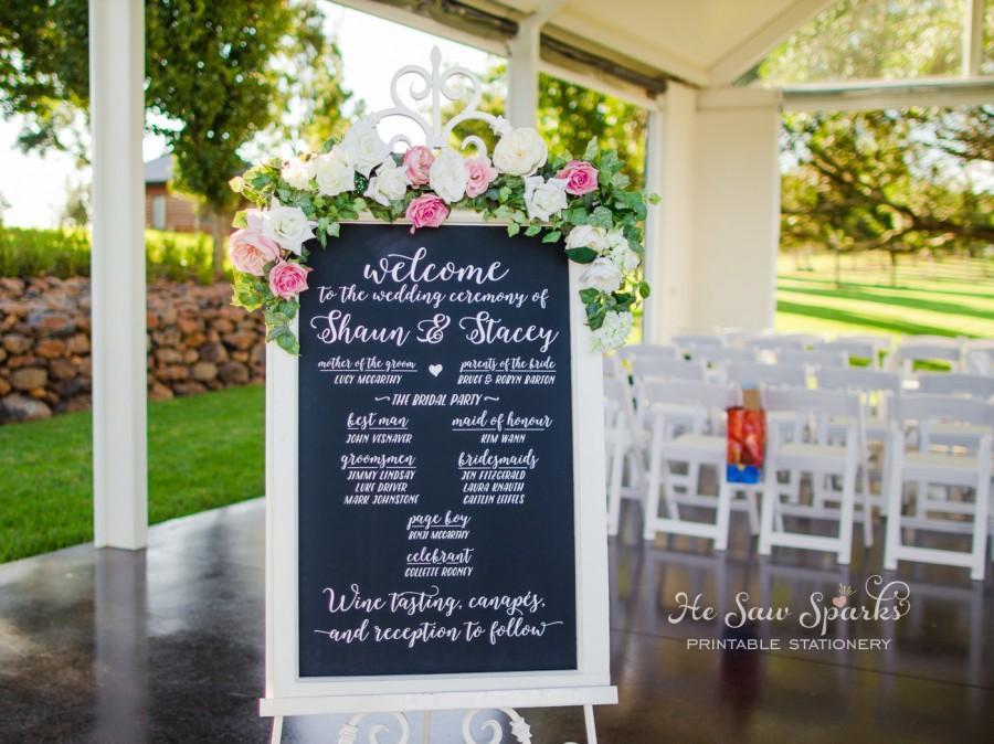 Mariage - Wedding Chalkboard Calligraphy Program - DIY - Printable