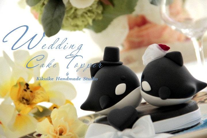 Mariage - orca  whale  Wedding Cake Topper---k606