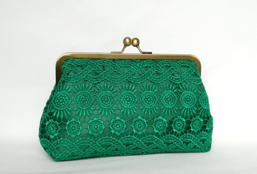 Hochzeit - Emerald Green Lace Clutch, Bridal Clutch bag, Lace Clutch, Wedding Clutch, Evening Clutch, Bridesmaids Clutch, Bridesmaids Gifts