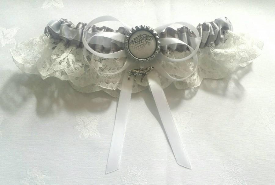 Wedding - Game of Thrones,House of Stark Satin/satin and lace/Garter Set