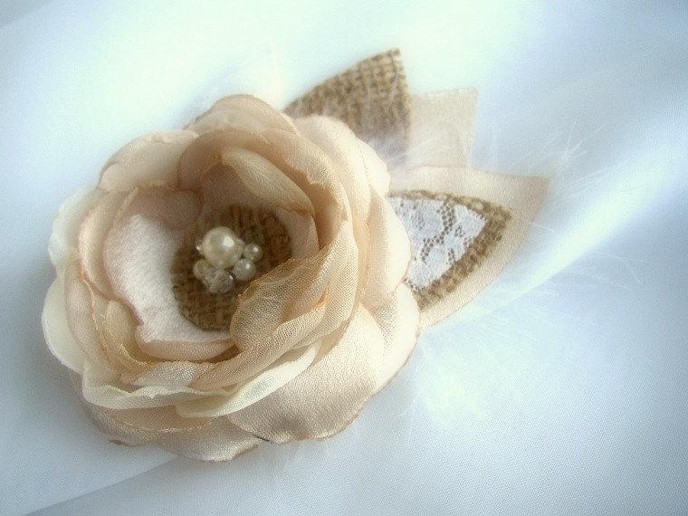 Wedding - Rustic Hair Accessories - Burlap Wedding Hair Piece - Flower Girl Hair - Champagne Hair Clip - Rustic Wedding Hairpiece - Burlap Wedding