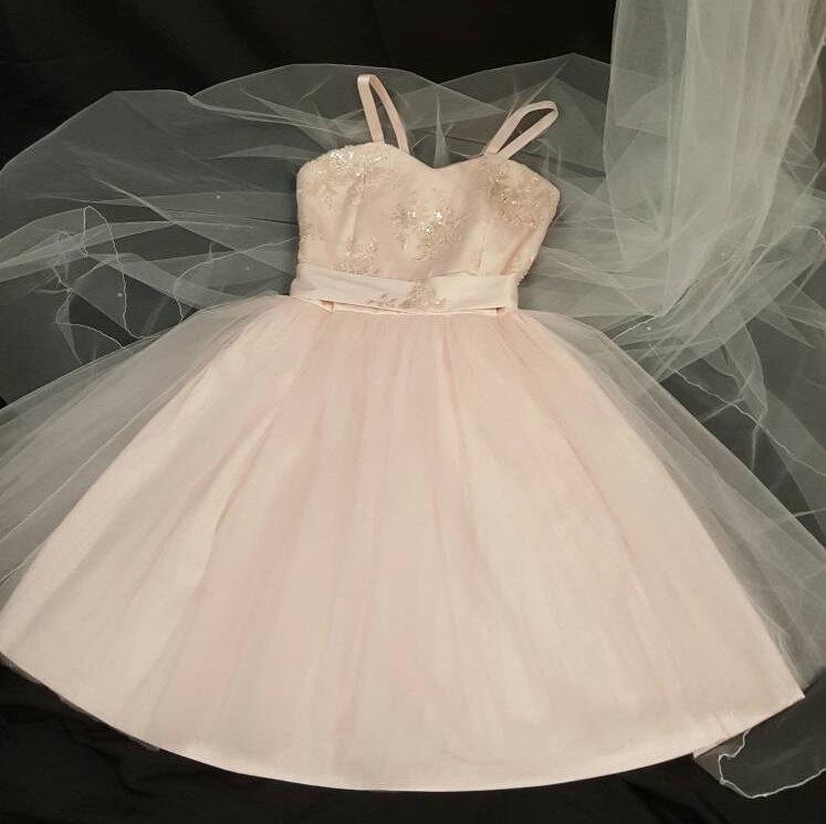 Mariage - Blush Short Tulle A-line Sweetheart Neckline Dress