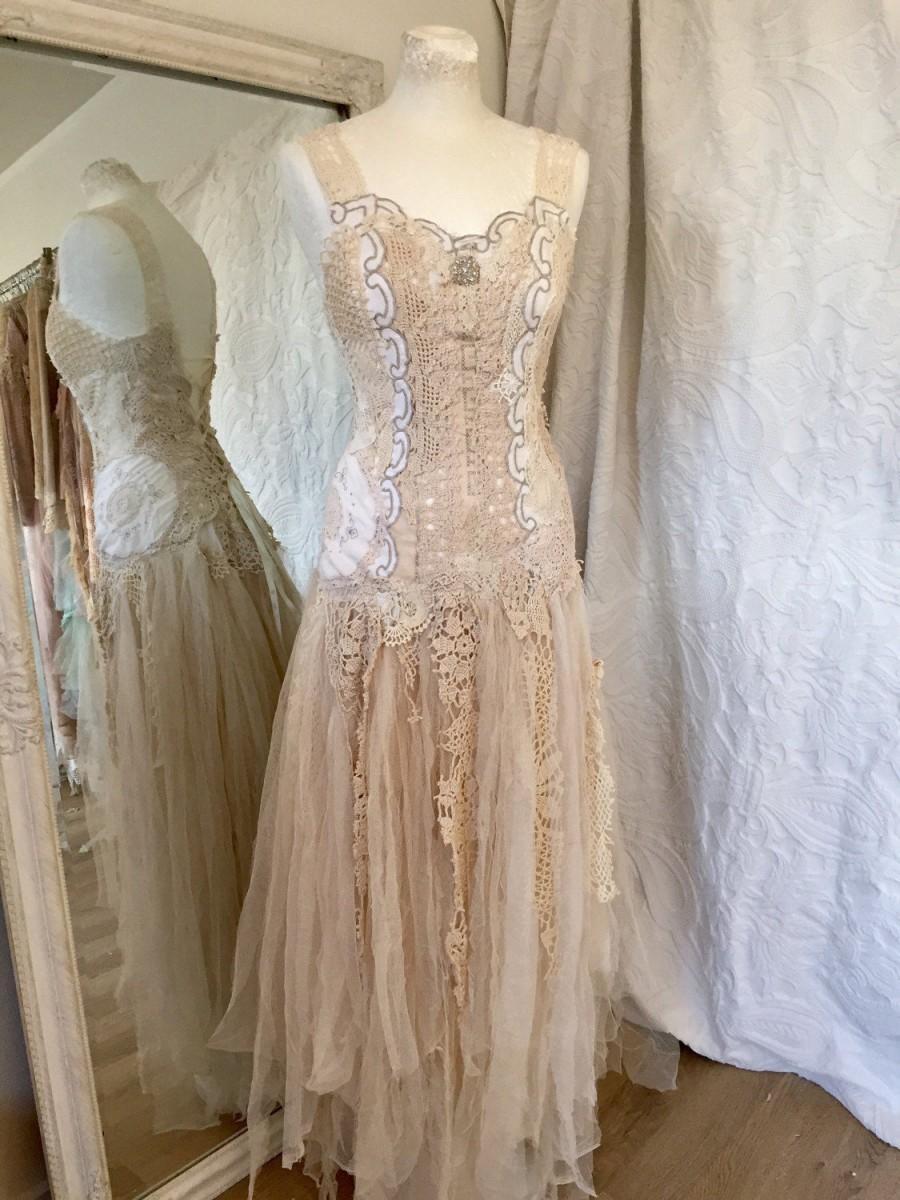 Boho Wedding Dress Crochet,unique Bridal Gown,lace Statement Wedding ...