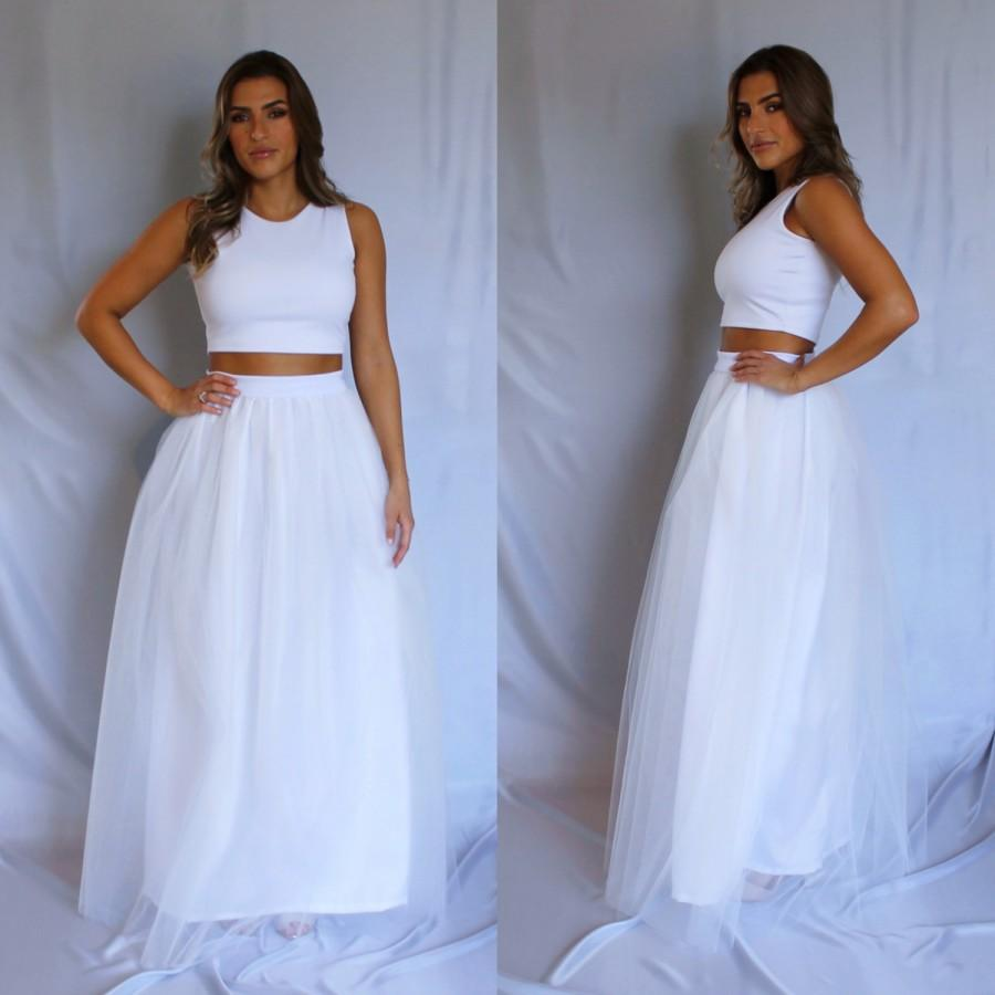 Long Tulle Skirt, White Tulle Skirt, Wedding Tulle Skirt ...