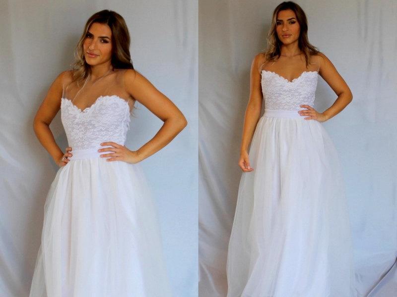 زفاف - Backless wedding dress, tulle wedding dress, lace wedding dress, bohemian wedding dress, simple wedding dress, boho wedding dress, gown.