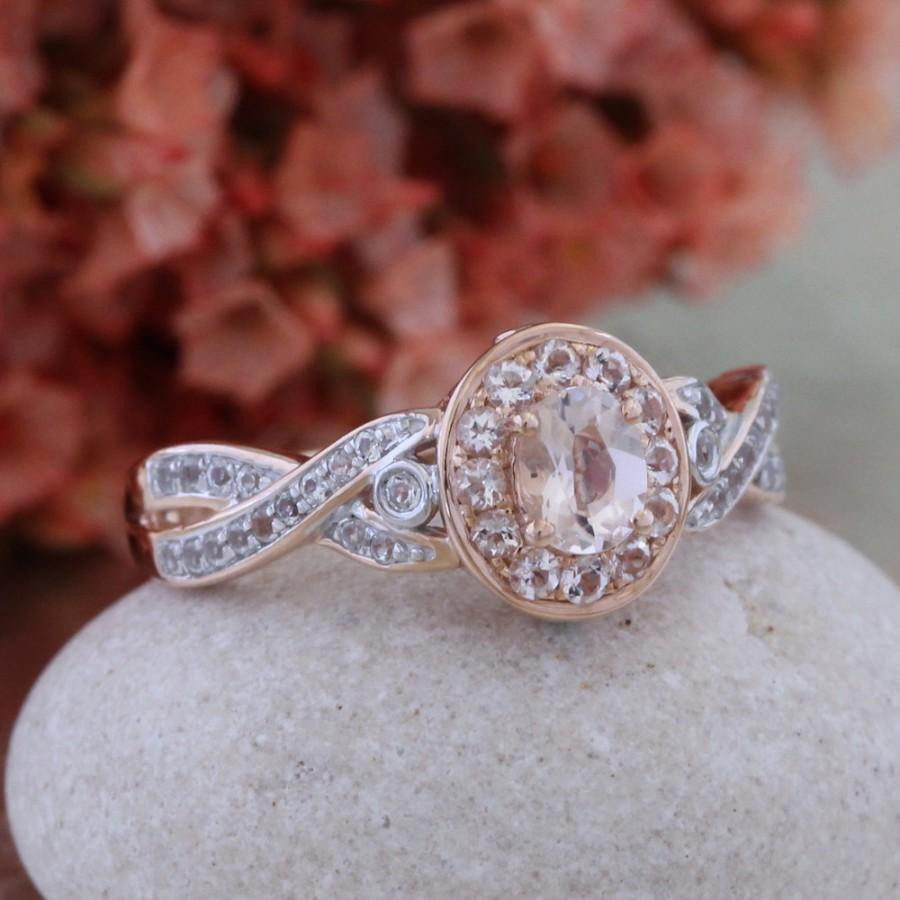 Mariage - Pink Morganite Ring in 10k Rose Gold Infinity Wedding Band, Halo Engagement Ring, Oval Cut Ring, Ready to Ship, Size 7 (Resizable)