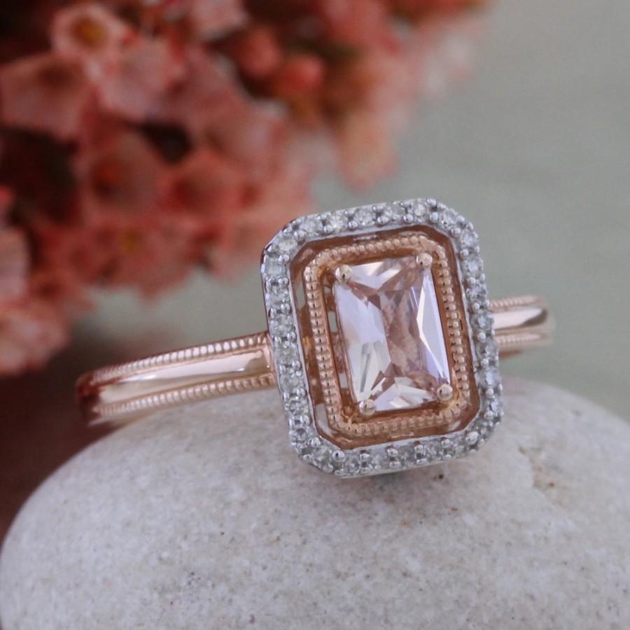 Mariage - Pink Morganite Engagement Ring in 10k Rose Gold Milgrain Wedding Band Halo Diamond Ring, Radiant Cut Ring, Ready to Ship, Size 7 (Resizable)
